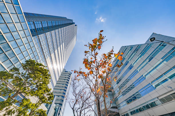 Urban buildings and blue sky stock photo