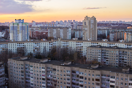 istock Urban buildings high-rise. High-rise buildings on top. Gray buildings minsk 947212782