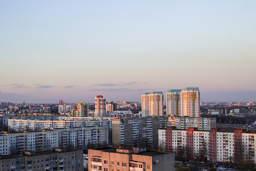 istock Urban buildings high-rise. High-rise buildings on top. Gray buildings minsk 947213022