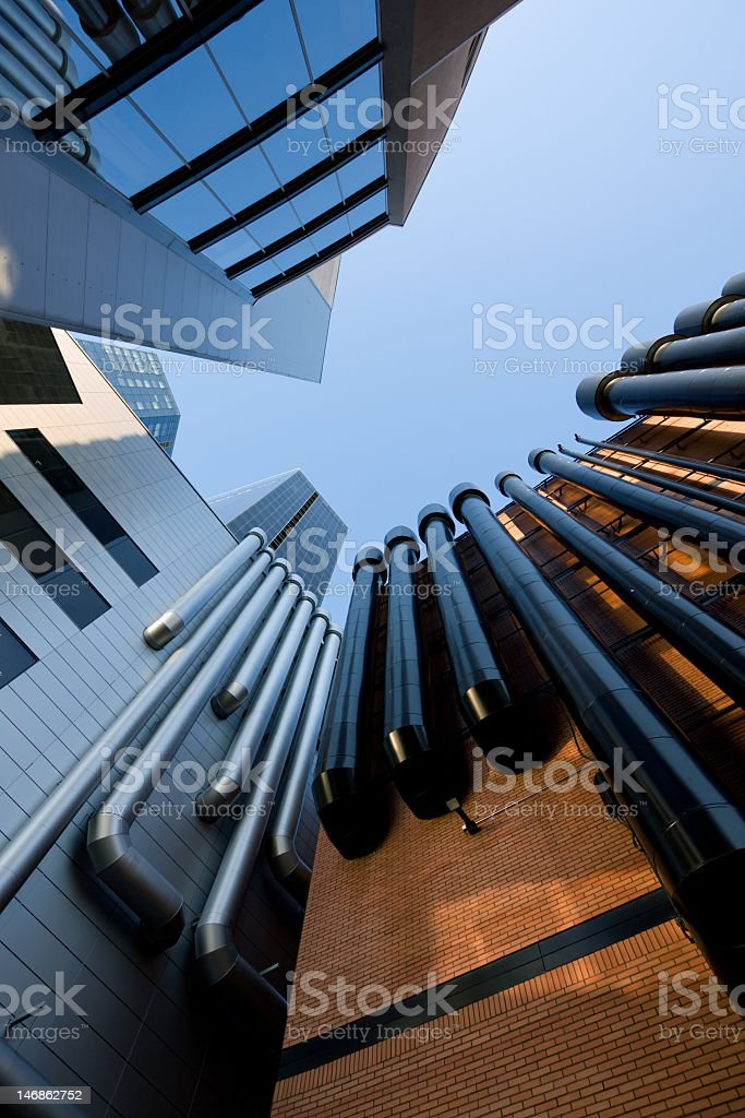Urban buildings with tubes royalty-free stock photo