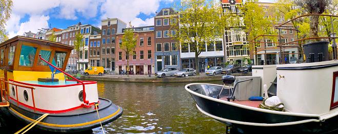 Urban Channel, Street Scene, Amsterdam,Holland, Netherlands, Europe