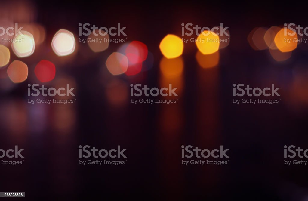Urban City Night Light Bokeh Defocused Blur Dark Background