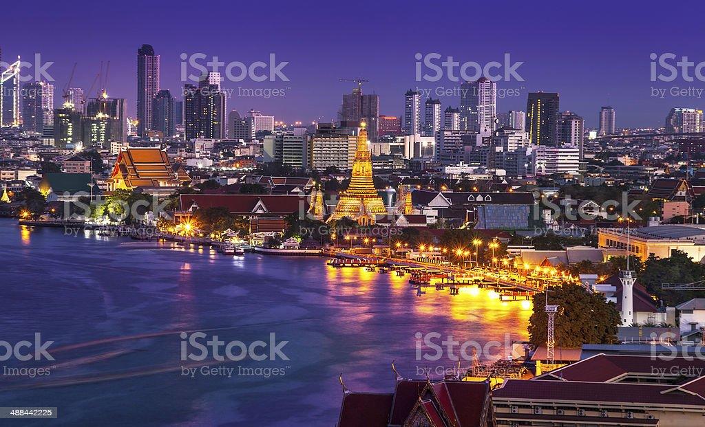 Urban City Skyline, Chao Phraya River, Wat Arun, Bangkok,Thailand. stock photo