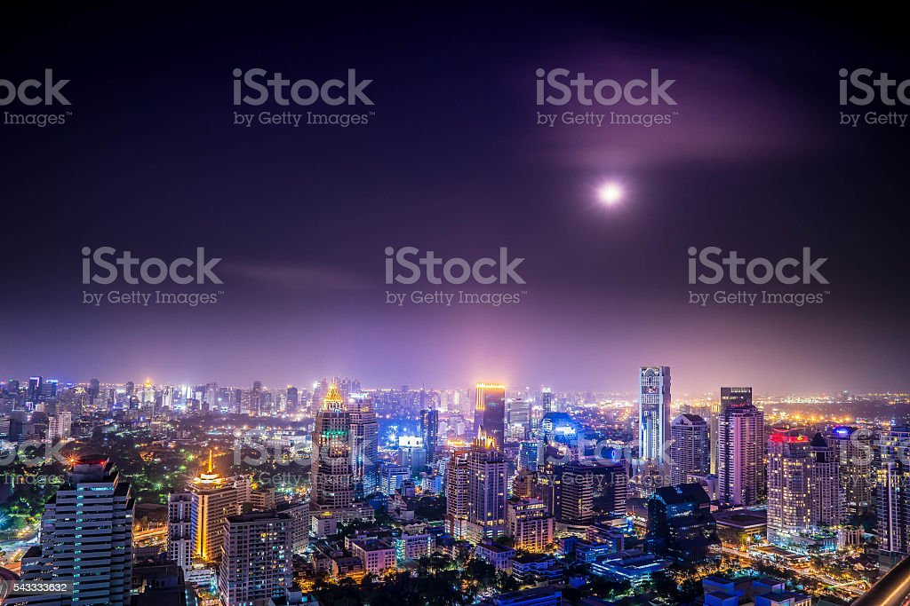 urban city view of cityscape on night view stock photo