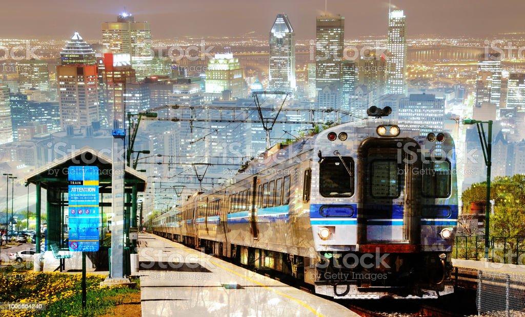 Urban Commuter Train Photo Montage 2 stock photo