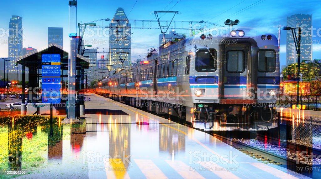 Urban Commuter Train Photo Montage 3 stock photo