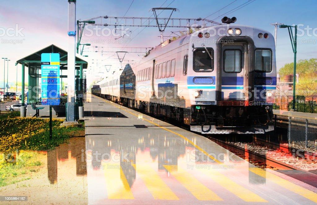 Urban Commuter Train Photo Montage 4 stock photo