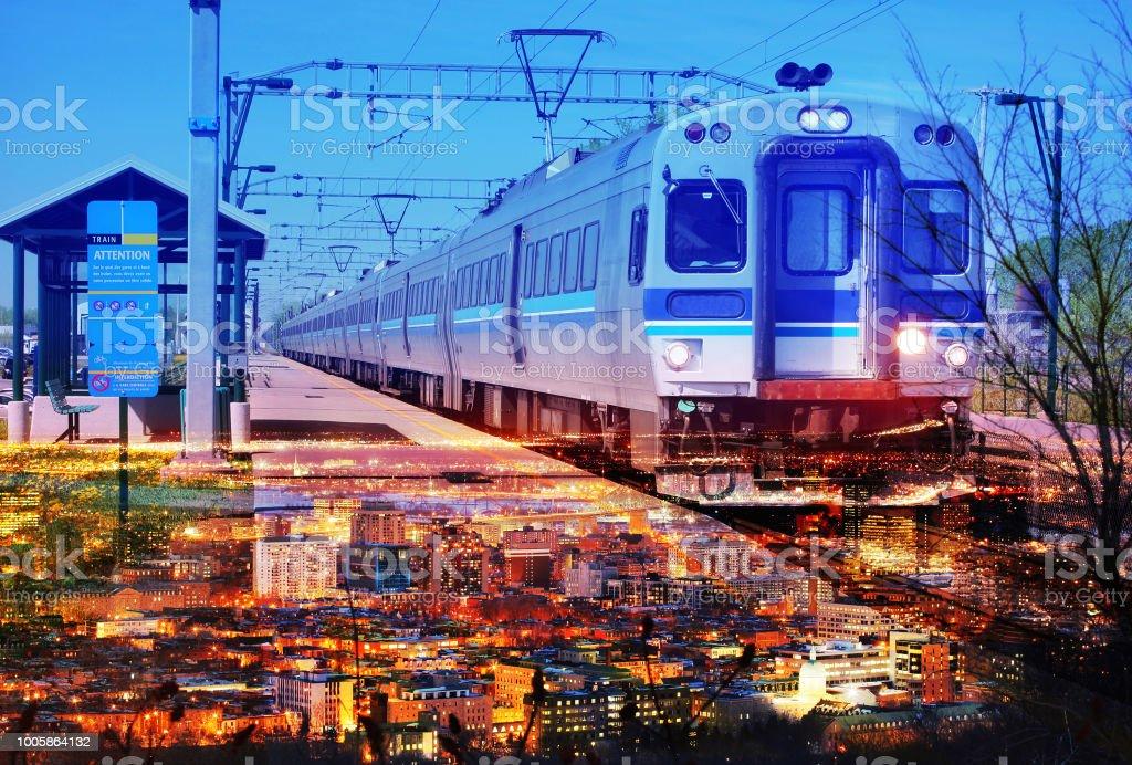 Urban Commuter Train Photo Montage 5 stock photo