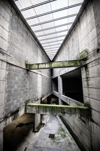 Urban concrete architecture in abandoned public parking lot