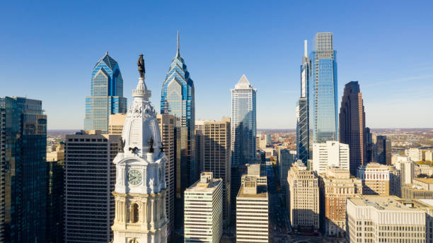 urban core city center tall buildings downtown philadelphia pennsylvania - philadelphia skyline stock photos and pictures