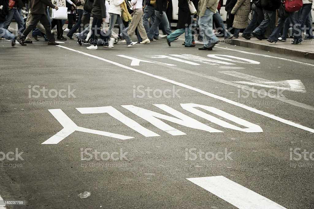Urban crossing w/ one way sign royalty-free stock photo
