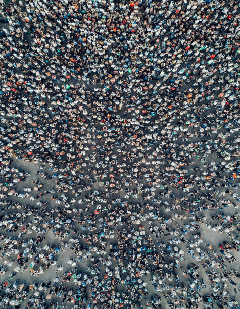 urban crowd from above - crowded stock pictures, royalty-free photos & images