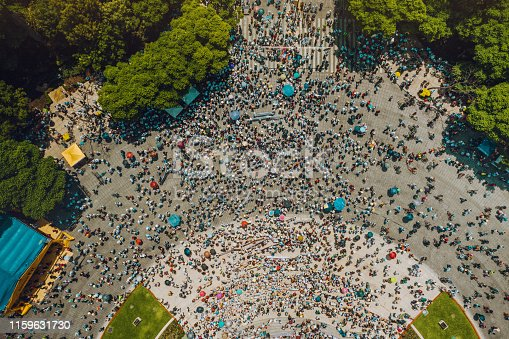 Urban crowd from above