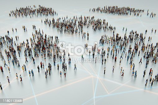 Urban crowds of people from above. This is entirely 3D generated image.