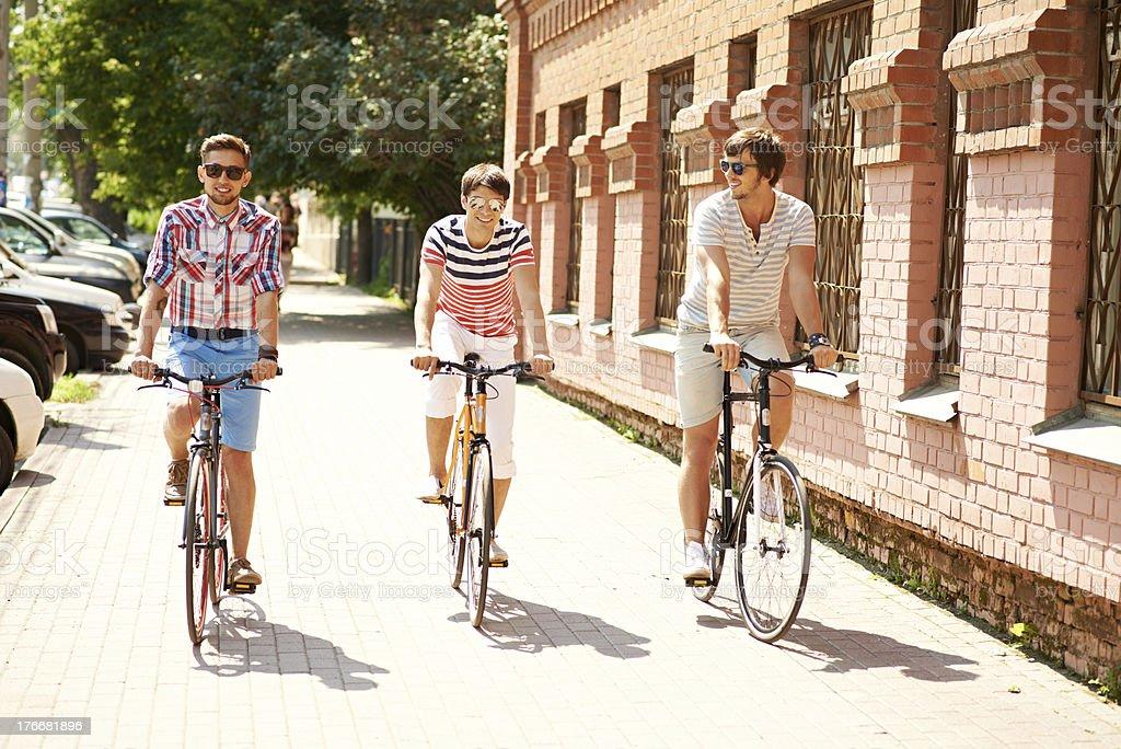 Urban cyclists royalty-free stock photo