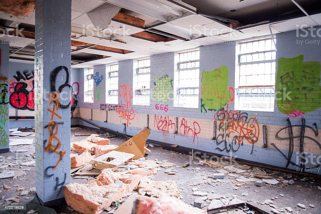 Urban Decay, Graffiti and Damaged Building stock photo