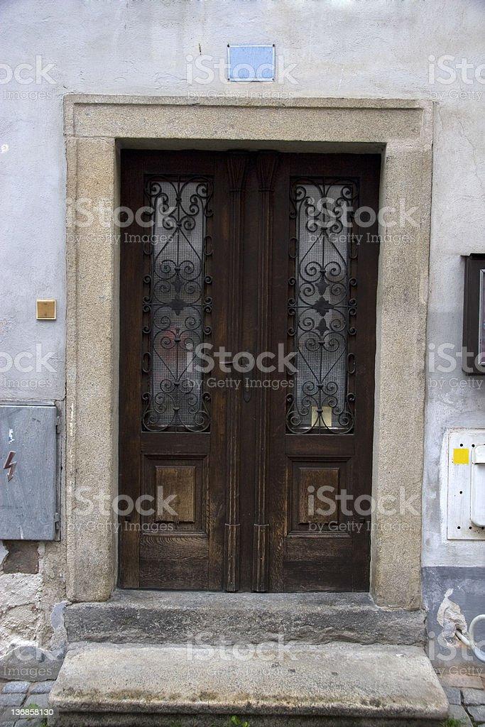 Urban Door Old doorway in the Czech Republic. Blue Stock Photo