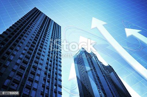 istock Urban economy Finance with arrows, business success 611789656
