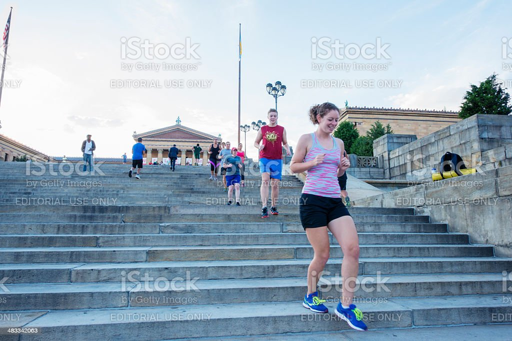 Urban Exercise on Philadelphia Steps stock photo