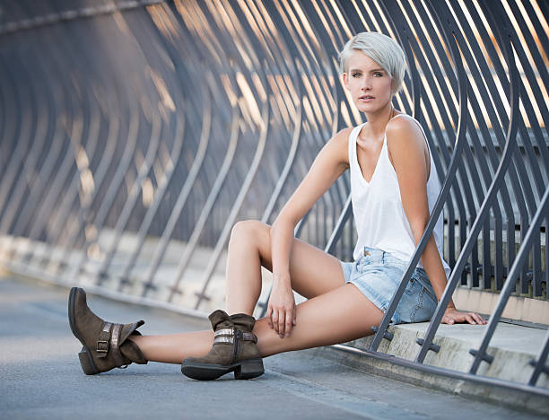 Urban Fashion, Beautiful woman wearing a leisure trendy Outfit stock photo