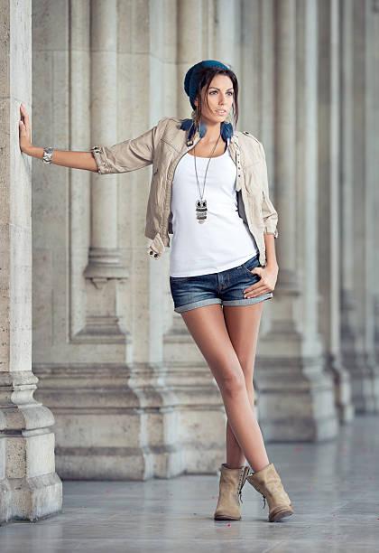 urban fashion (xxxl) - jean shorts stock photos and pictures