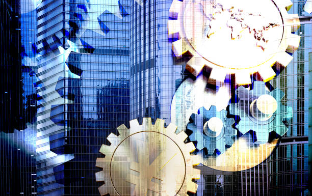 Urban Finance, Gears and Currency Symbols, Economic Development Three-dimensional synthesis of images, said economic development, financial influence economic reform stock pictures, royalty-free photos & images