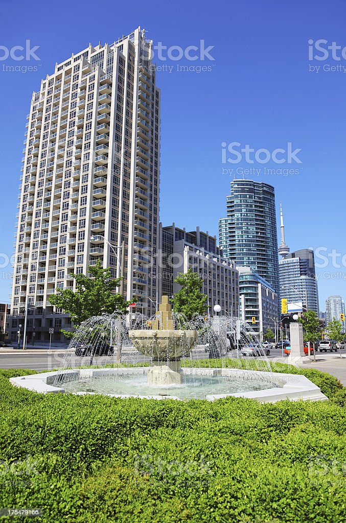 Urban Fountain in Toronto City stock photo