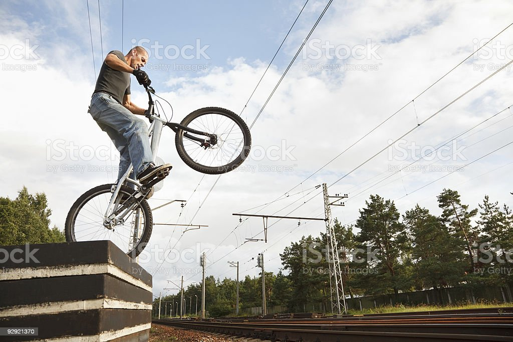 Urban freestyle trial rider royalty-free stock photo