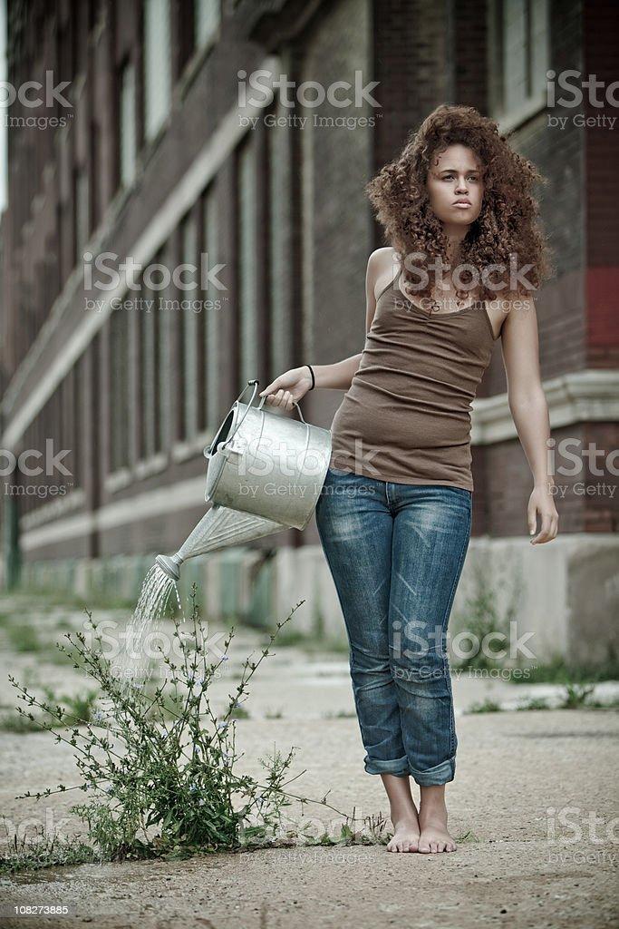 Urban Gardener - Watering a Weed stock photo