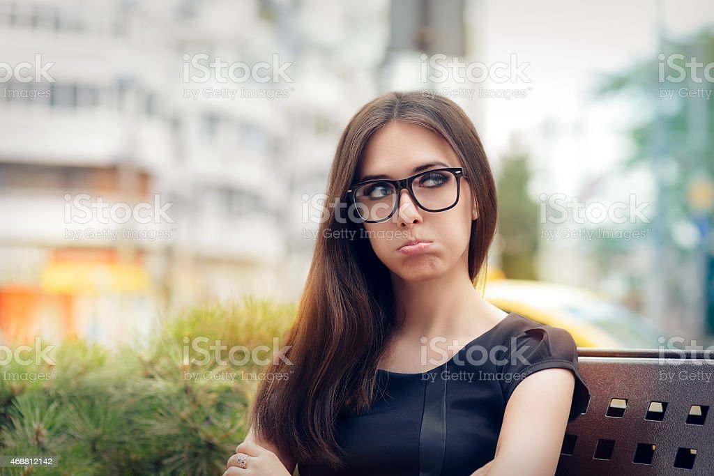 Urban Girl Feeling Upset and Alone stock photo