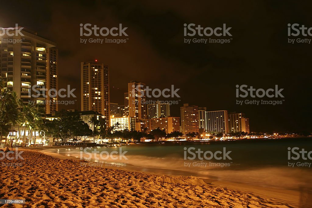 Urban Hawaiian Beach Scene at night (Hawaii, USA) royalty-free stock photo