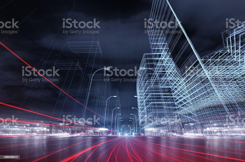 Autobahn-Verkehr in der Stadt bei Nacht – Foto