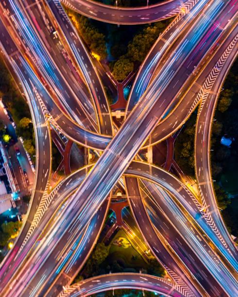 Städtische Autobahn Verkehr von shanghai in der Nacht – Foto