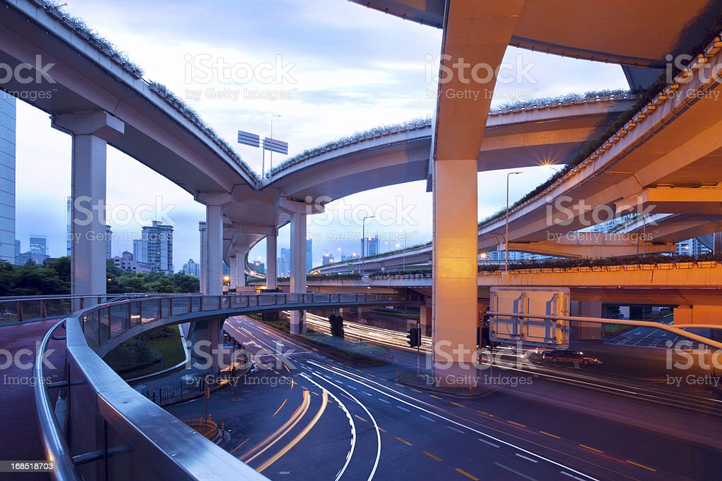 Urban highway viaducts at night stock photo