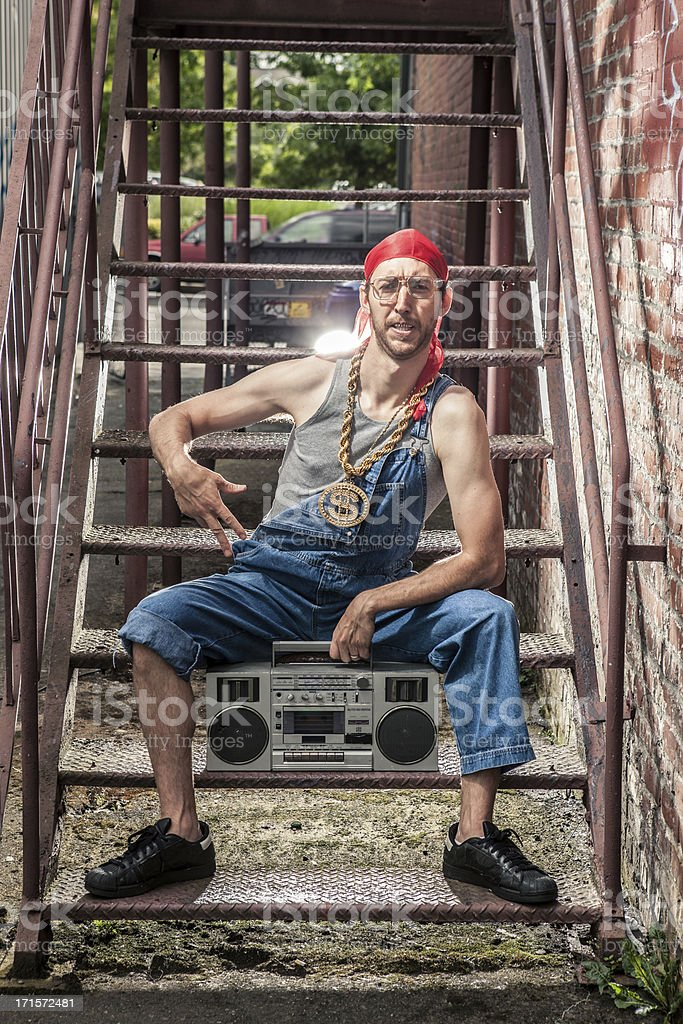 Urban Hip Hop Man From the 1990s with Ghetto Blaster stock photo