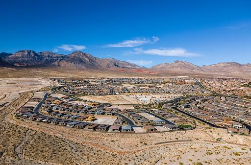 Housing development on desert landscape