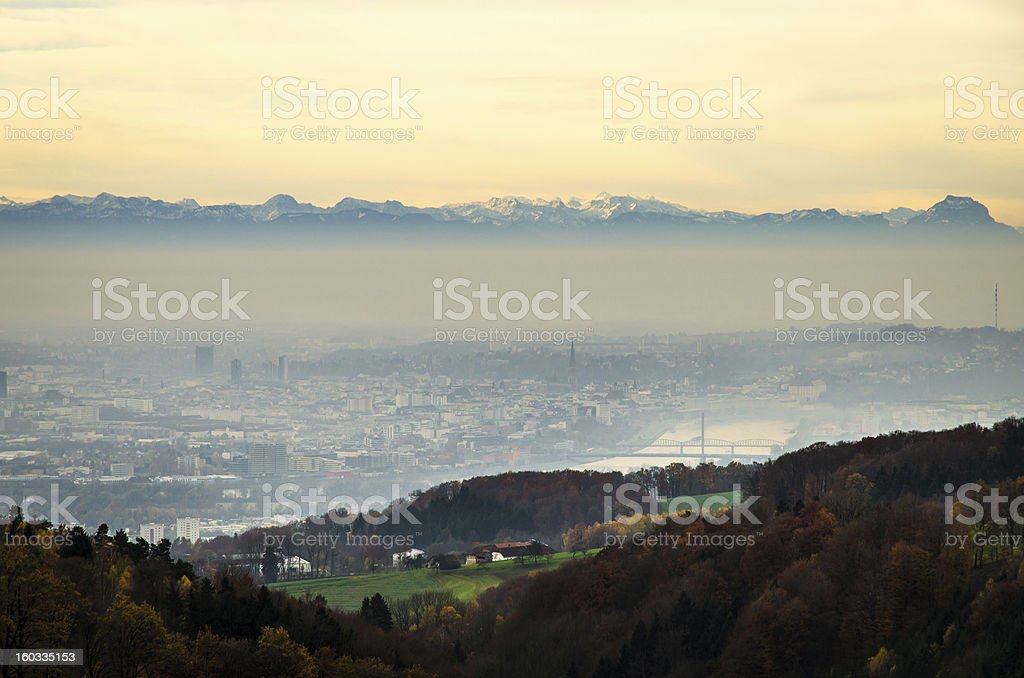 Urban Industry Cityscape of Linz Austria royalty-free stock photo