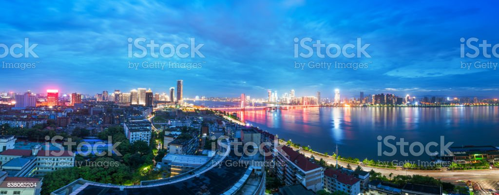 Urban Landscape, aerial China Nanchang skyscrapers. stock photo