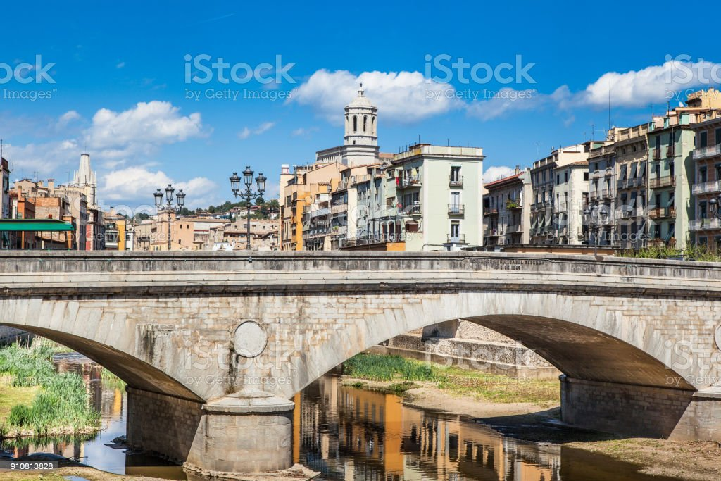 Urban landscape Girona stock photo