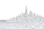 urban landscape in 3d contour lines