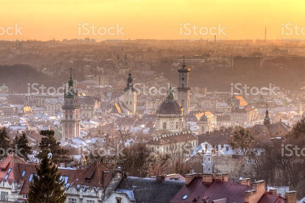 Urban landscape of Lviv stock photo