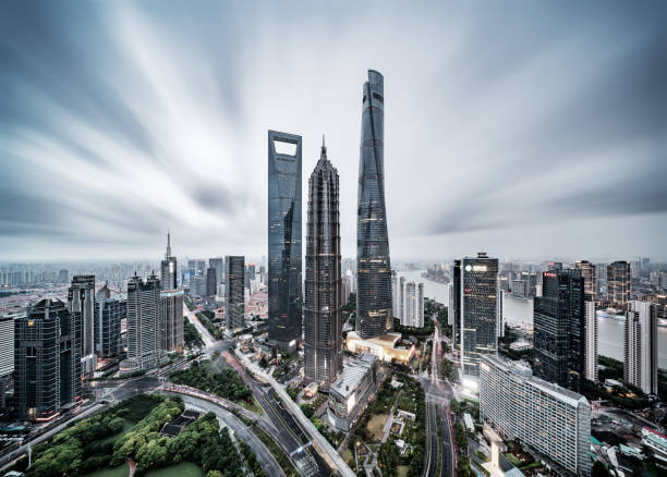 Urban landscape of Shanghai Shanghai is a high-rise buildings, the rapid development of the city. jin mao tower stock pictures, royalty-free photos & images