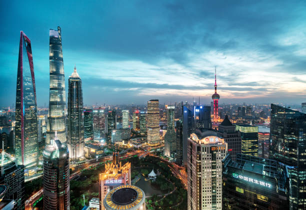 Urban landscape of Shanghai Shanghai is a high-rise buildings, the rapid development of the city. shanghai stock pictures, royalty-free photos & images