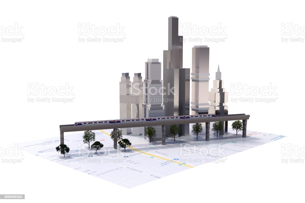 Urban landscape with buildings, skyscrapers and transport traffic. Concept of smart city with different stock photo