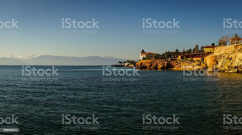 Urban landscape with seaview in Loutra Edipsou, Evia, Greece stock photo