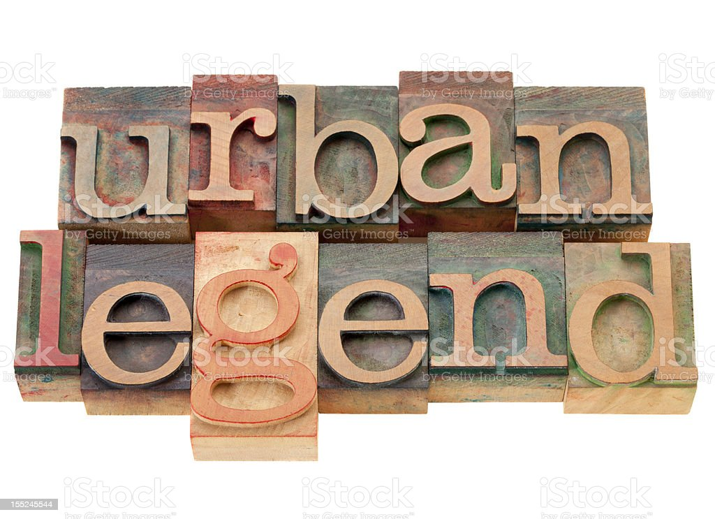 urban legend in wood letterpress type royalty-free stock photo