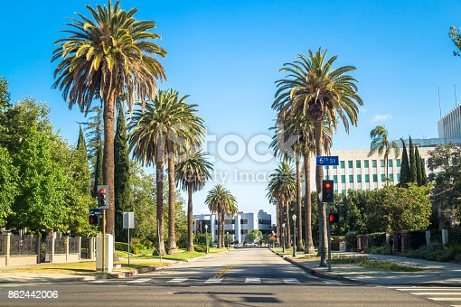 Los Angeles, California, USA - March 21, 2017: Palms and streets of Los Angeles. Urban life in Pasadena. Green lawns, tropical palm trees and cars on the road. Cozy residential quarter