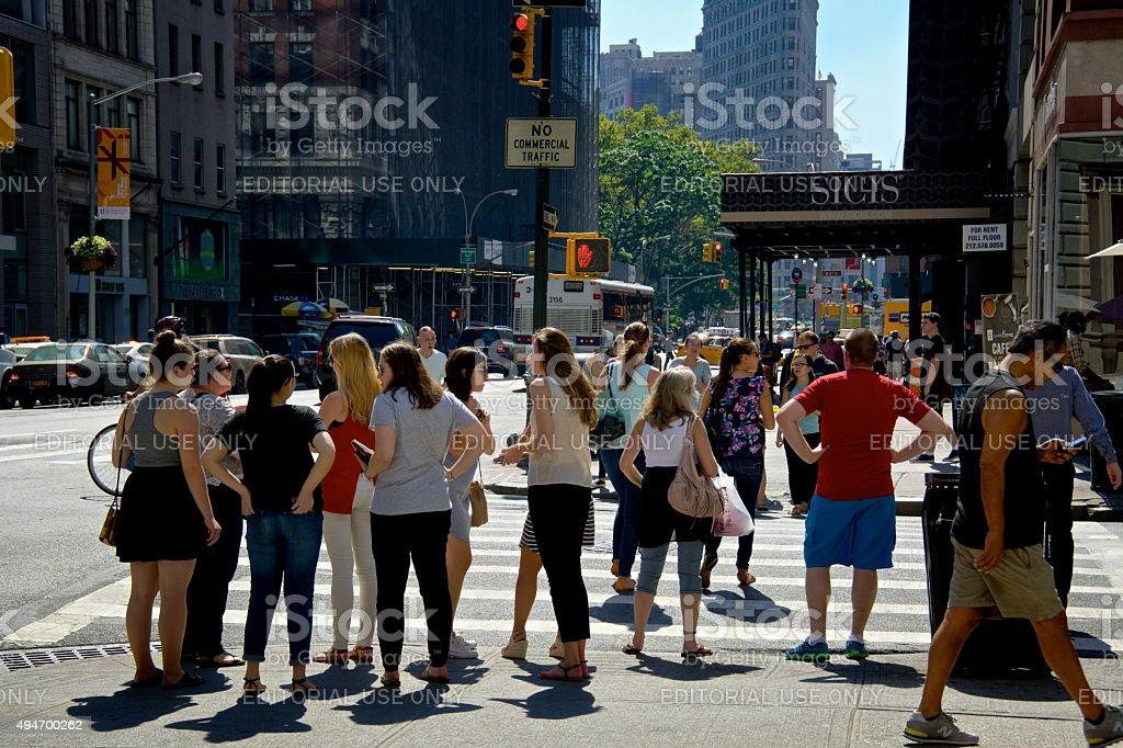 Urban Life, New York City, Pedestrians Waiting to Cross Intersection stock photo