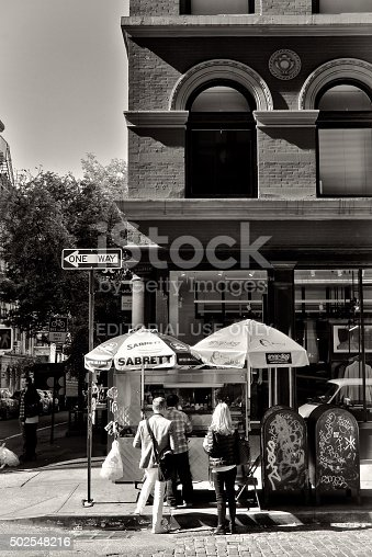 654490824 istock photo Urban Life, New York City, People Buying Fast Food, SoHo 502548216