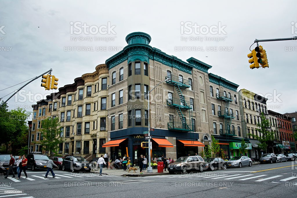 Urban Life, New York City, People, Cafe, Park Slope Brooklyn. stock photo